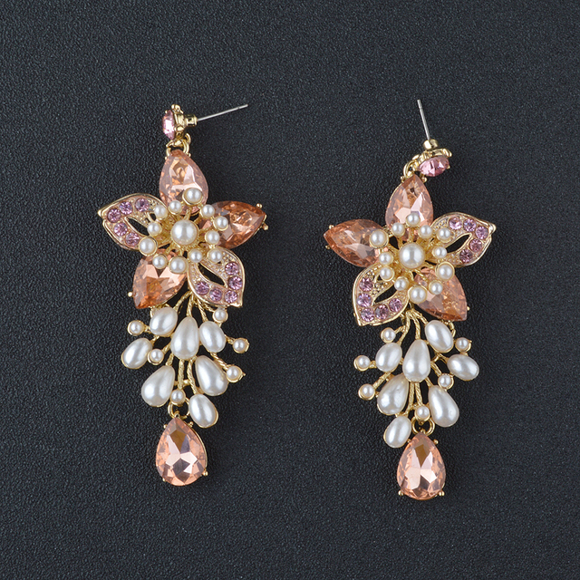 bridesmaid gold rose crystal peach pin earrings wedding