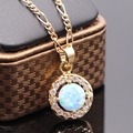 Luxury Necklace Pendant  6colors Fire Opal&AAA Zircon Champagne Gold Plated Round Pendant 6colors