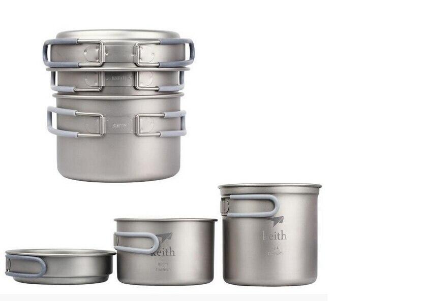 Haute qualité Portable pique-nique en plein air ustensiles de cuisine ultra-légers en titane casseroles ensembles Kits avec 1 ensemble couteau/fourchette/cuillère