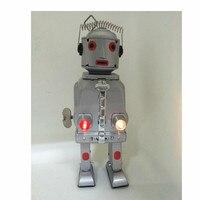 1 PCs tin lighting robot wind up silver tin toy robot