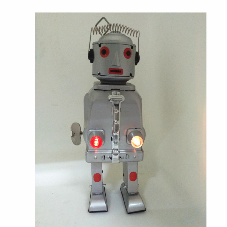 1 PCs Tin Lighting Robot Wind-up Silver Tin Toy Robot