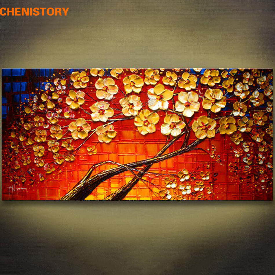 Unframed Colorful Red Flower Hand Painted Palette Knife