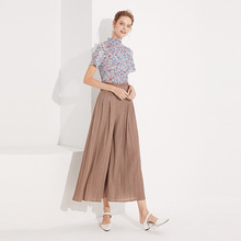 T Shirt Summer Women 2019 New Fashion Printed Stand Collar Short Sleeves Elastic Miyake Pleats Slim Casual Woment Tops