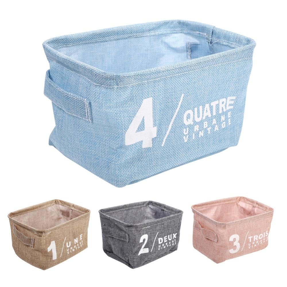 Fresh Color Linen Desk Storage Basket Jewelry Cosmetic Stationery Organizer Case Linen Desk Home Storage Box