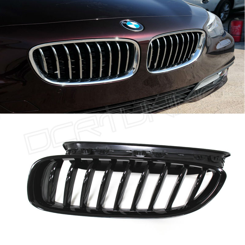 Single Slat ABS Front Grille For BMW 5 Series F07 2010 2011 2012 2013 2014 2015 - on Glossy Black Finish