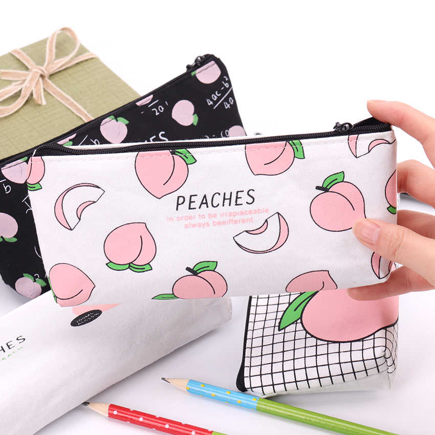 1PC New Fruits Juicy Canvas Peach Pencil Bag Kawaii Pen Bag For Girl Gift School Office Supply Student Stationery