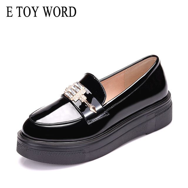 E TOY WORD High Quality Womens flats black woman Platform Shoe Patent leather Brogue Loafers Rhinestone Women shoes fashion