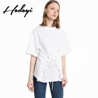 Casual Short Sleeve T-Shirt Women Fashionable Summer Tops 2017 pure temperament band five - college female sleeve