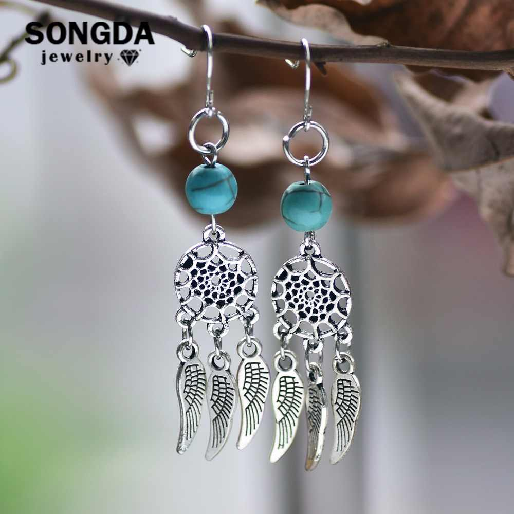 SONGDA Fashion Sexy Dreamcatcher Alloy Tassel Earrings Ancient Silver Dream Catcher Drop Earrings for Women Art Jewelry Gifts
