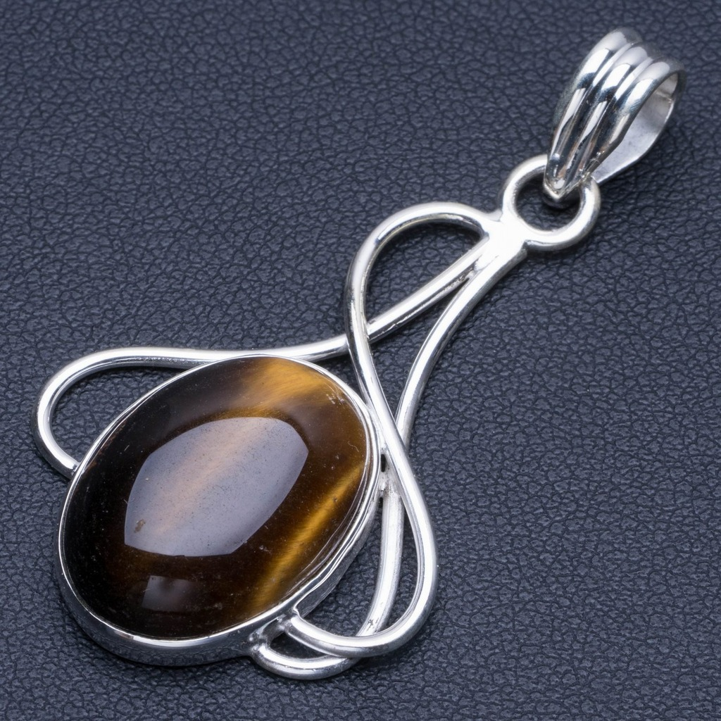 Natural Tiger Eye Punk Style 925 Sterling Silver Pendant 2 Q1125Natural Tiger Eye Punk Style 925 Sterling Silver Pendant 2 Q1125