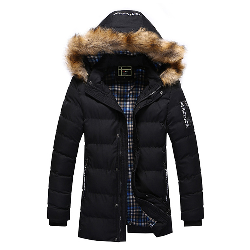 100% Wahr Winter Frühling Parka Jacke Männer Verdicken Warme Pelz Kragen Mit Kapuze Gepolsterten Mantel Männlichen Casual Schwarz Zipper Jacken Outwear