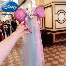 цены Disney Minnie Mouse Wedding Headdress Princess Mickey Head Ear Sequin Girls Hair Bands Head Hoop Pretend Play Game Toys Kid Gift