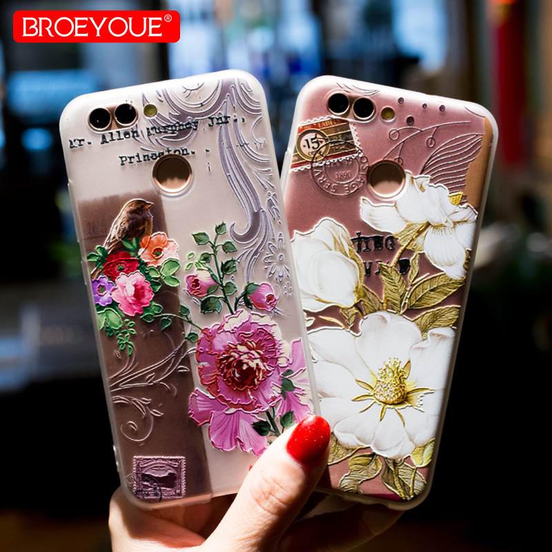 BROEYOUE Case For Huawei P20 P10 P9 P8 Lite 2016 2017 Nova 2 Plus 3D Relief TPU Flowers  ...