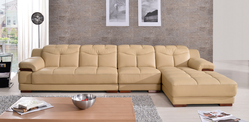 Free Shipping Home Design Living Room Sofa Set Made With Top Grain Leather L Shaped Yellow Color Smart Sofa Set 2011