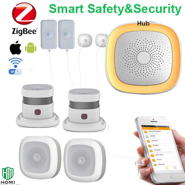 Home Kitchen Basement Pool Store Factory Water Leak Temperature Humidity Environment Safety Detecting Alarm System Zigbee