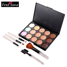 Professional Make UP Set 15 Color Face Cream Concealer Palette + 5pcs Foundation Powder Brush Eye Shadow Eyebrow Lip Brush