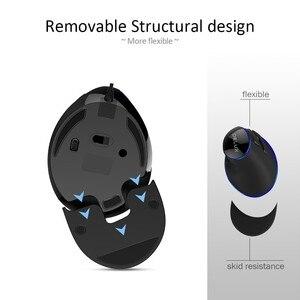 Image 4 - Delux M618 Plus ergonomique Vertical filaire souris 6 boutons 1600 DPI lumière bleue led souris dordinateur avec repose paume pour PC bureau