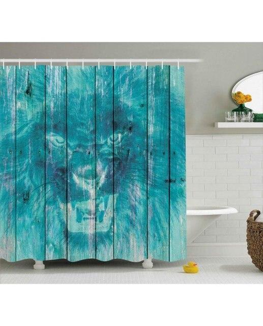 Retro Shower Curtain Wooden King Lion Decor Print For BathroomFabric ...