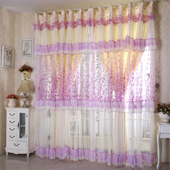 custom curtains foral Korean yarn  lace curtains bedroom living room curtain cloth sheer voile curtain tulles E271