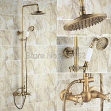 цена на Bathroom 8 Rainfall Shower Head Shower Complete Faucet Antique Brass Bath and Shower Faucet Set with Handheld Shower lrs108