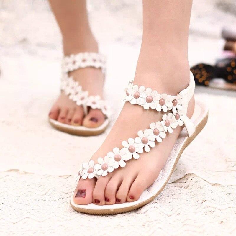 Women Sandals Fashion Flower Women Flats Sandals Elastic Strap Summer Shoes Women