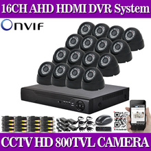 800TVL CCTV 16pcs outside Waterproof IR Cameras 16ch h.264 DVR recorder Package 16 channel safety video surveillance dvr system