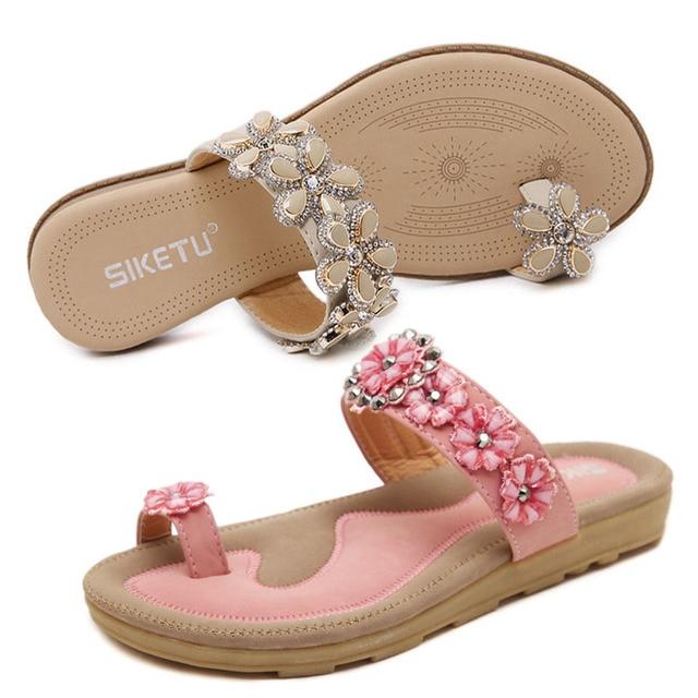 08a9e4b94 rhinestone clip toe flip flops women flower beading sandals fashion  designer crystal platform sandalias mujer slippers y241