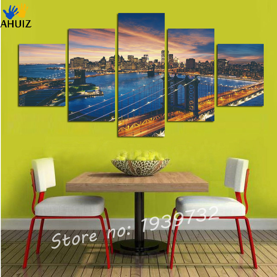 ᗖ5 Piece Canvas Art Cityscape Abstract Canvas Painting Wall ...