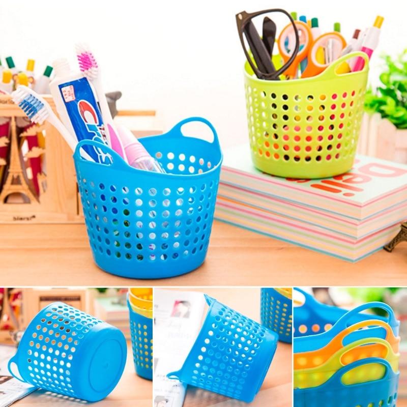 Office Desktop Storage Baskets Makeup Organizer Trash Bin Garbage Can Plastic