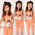 Bonito orange princesa do bebê macacão macacão menina raposa playsuit outfits bebê recém-nascido veste macacão 2017 novo