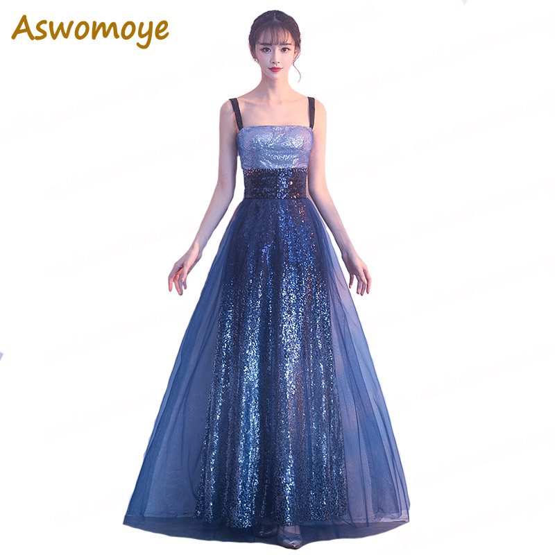 Elegant   Evening     Dress   2018 Pageant A-Line Long   Evening   Gowns Sleeveless Party Formal   Dresses   Spaghetti Strap robe de soiree