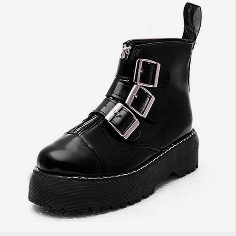 b50ace98b6666 Detail Feedback Questions about Moxxy Black Punk Gothic Style Lace up  Platform Boots Women Shoes Winter Ankle Boots Martin Boots Leather Rubber  Mujer ...