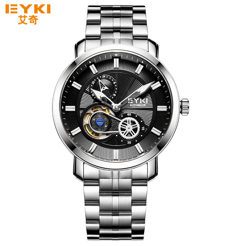 ФОТО Fashion Men Watch Automatic Mechanical Luminous Hollow Analog Dial Dress Business Watches Scratch Resistant Steel Wristwatch