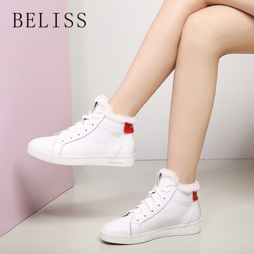 BELISS spring and autumn new leather cow plus velvet tie comfortable round head low boots with wild bare M9