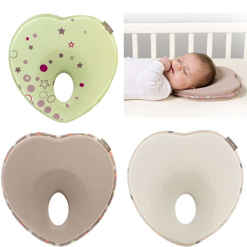 Baby Head Shaping Pillow Baby Pillow to Prevent Flat Head Supports Newborn Head Shape Baby Protective Pillow Light Coffee Striped