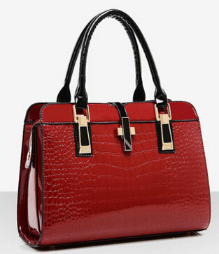 The New Female Bag OL Commuter Fashion Crocodile Pattern Patent Leather Stereotypes Handbags