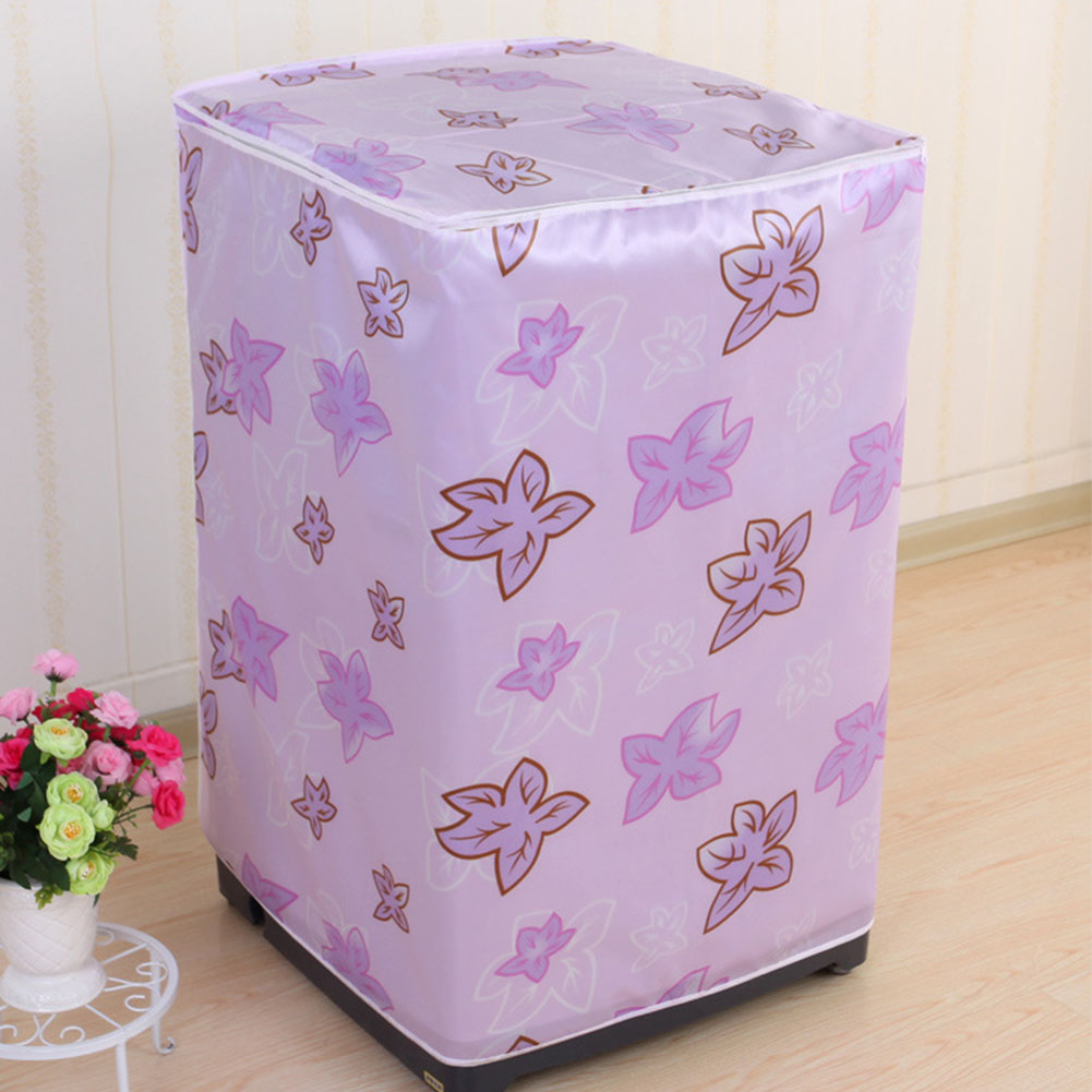Dust Proof Case Floral Printed Home Protective Washing Machine Cover Cute Front Loading Bathroom Accessory Zipper Decoration image