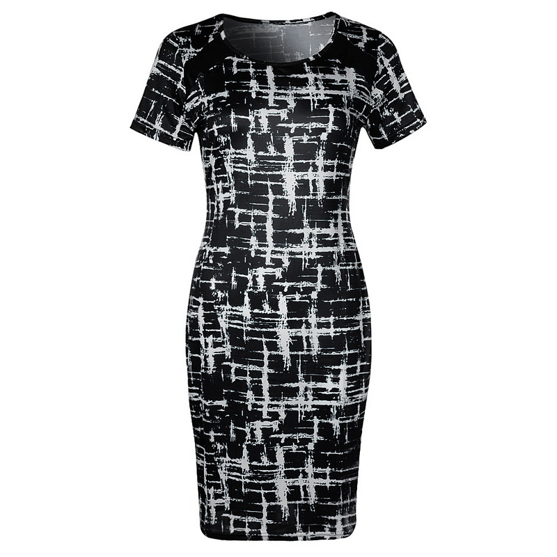Collection Here Laamei 2019 New Spring Chic Women Bandage Round Neck Bodycon Short Sleeve Party Midi Dress Party Bodycon Fashion Female Hot 3xl