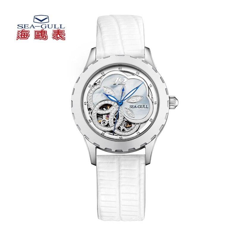 Mewa wycięty kwiat wzór masa perłowa wybierania kobiet pani automatyczny zegarek mody szafirowy kryształ 819.18.5028L w Zegarki damskie od Zegarki na  Grupa 1