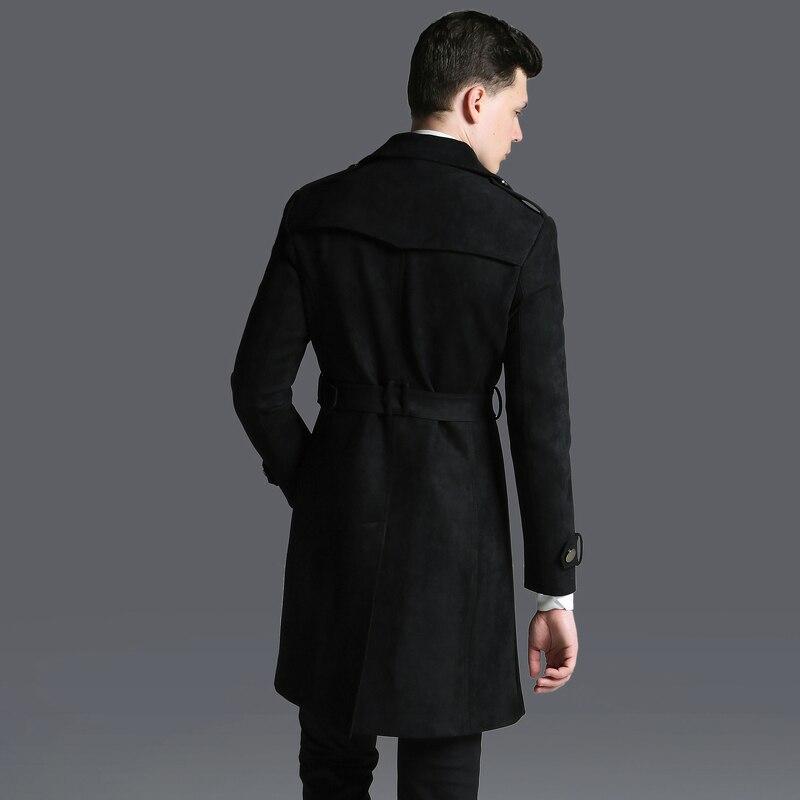 ฤดูใบไม้ร่วงฤดูหนาวที่มีคุณภาพสูงแฟชั่นเลียนแบบหนังนิ่มคู่หน้าอกน้ำเสื้อชายยาวสบายๆปรับเอวขนาดบวกS 6XL-ใน โค้ทยาว จาก เสื้อผ้าผู้ชาย บน   3