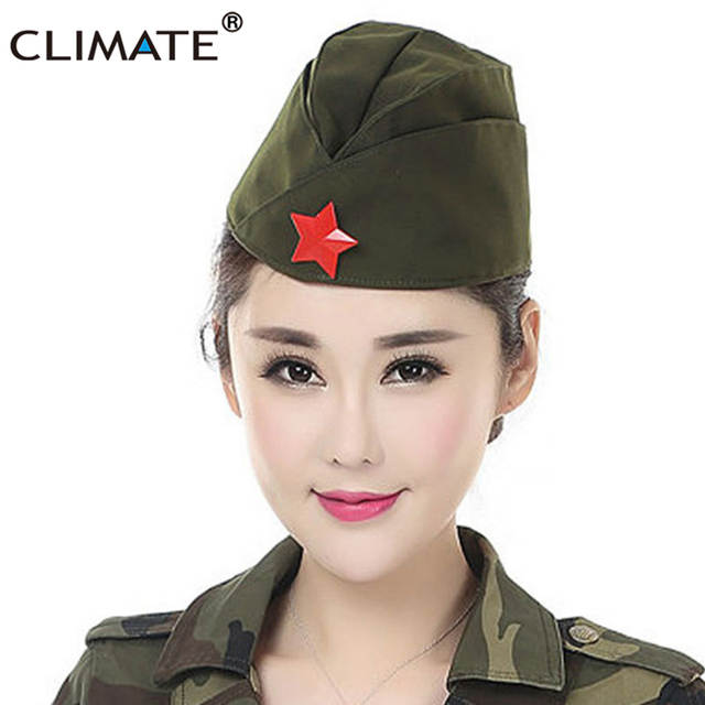 CLIMA Russo Exército Vermelho Soviético Estrela Vermelha Guarnição Militar  Caps Meninas Único Verde Do Exército Uniforme 80532929f76