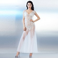 f8851b2176c Diamonds Lace Voile Mermaid 2018 Women s Elegant Long Gown Party Proms For Gratuating  Date Ceremony Gala Evenings Dresses Up 14