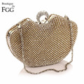 Women's Dazzling Knuckle Box Metal Hard Case Gold Crystal Ring Clasp Evening Purse Bridal Wedding Party Cocktail Handbag Clutch