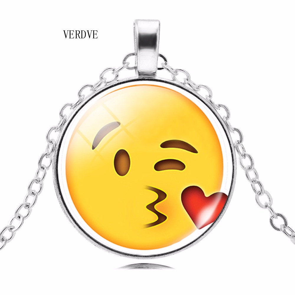 VERDVE pictures chain statement necklace fashion emoticons expression convex colored glass silver necklace ladies fine jewelry