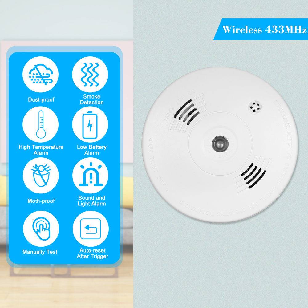 Access Control Smart Wireless 433mhz Alarm Security Smoke Fire Detector 85db Home Security System For Indoor Shop Smoke Alarm Sensor Access Control Accessories