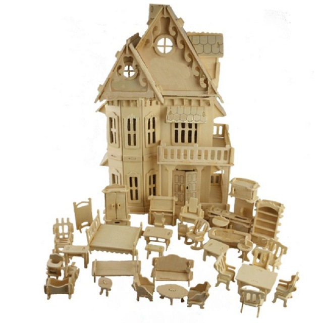1:24 Scale Gothic Woodhouse Villa DIY Wooden Dollhouse And Furniture  Handcraft 3D Miniature Model