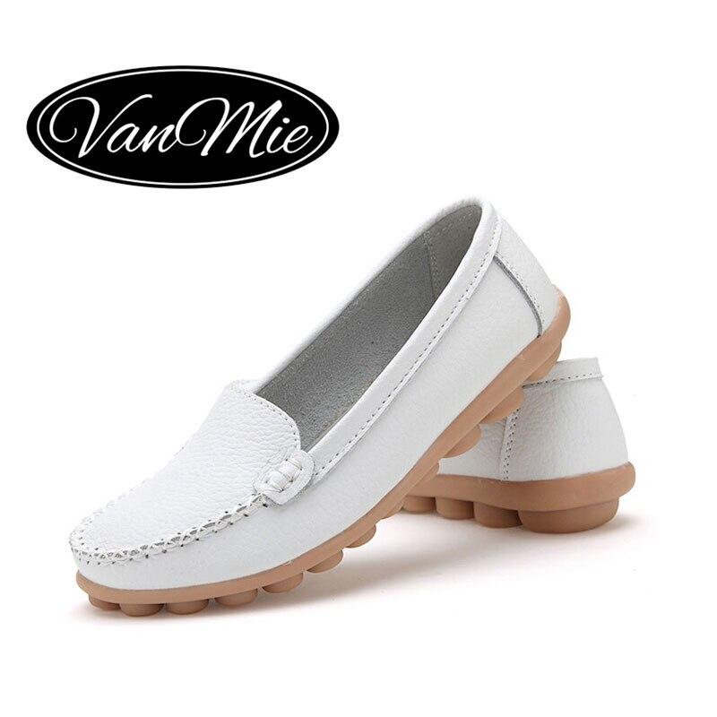 2016 Spring Women Flats Shoes Woman Slip On Loafers Womenu0026#39;s Flats Shoes Soft White Nurse Female ...