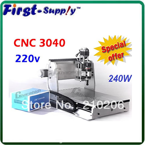 Free shipping CNC router CNC3040, 220v CNC 3040 engraving drilling/ milling machine, special offer!