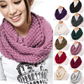 Fashion Women Winter Warm Knitted Neck Circle Wool Cowl Snood Long Scarf Shawl Solid Color Luxury Brand New