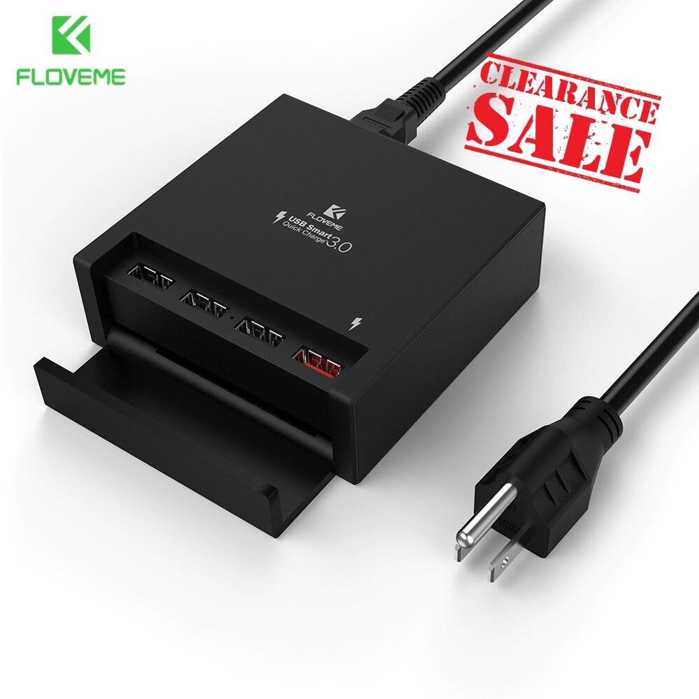 FLOVEME 40 W USB Carregador de Carga Rápida Rápida 3.0 Do Telefone Móvel carregador para o iphone Samsung Xiaomi Tablet Nexus 4 Portas de Desktop carregador